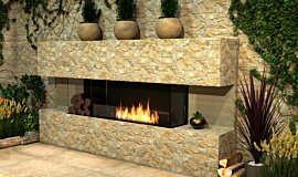 Outdoor Setting Linear Fires Flex Fireplace Idea