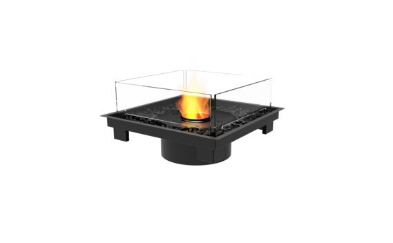 Square 22 Fire Pit Kit - Ethanol - Black / Black / Indoor Safety Tray by EcoSmart Fire