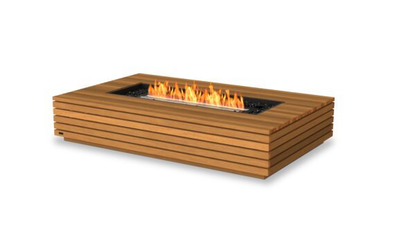 Wharf 65 Fire Table - Ethanol - Black / Teak by EcoSmart Fire