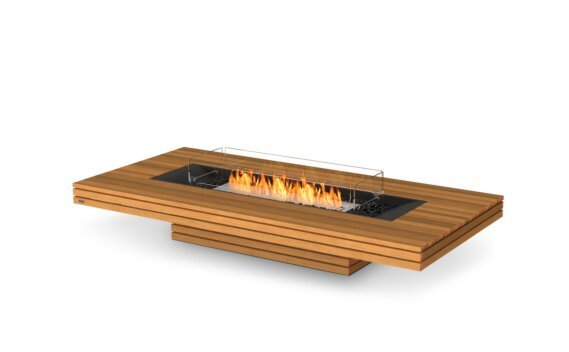 Gin 90 (Low) Fire Table - Ethanol / Teak / Optional Fire Screen by EcoSmart Fire