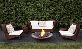 Private Residence Fluid Concrete Technology Fire Pit Idea