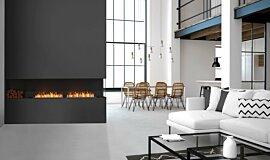 Living Area Linear Fires Right Corner Idea