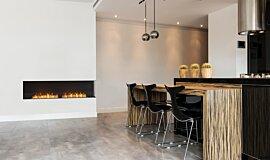 Kitchen Area Linear Fires Flex Fireplace Idea