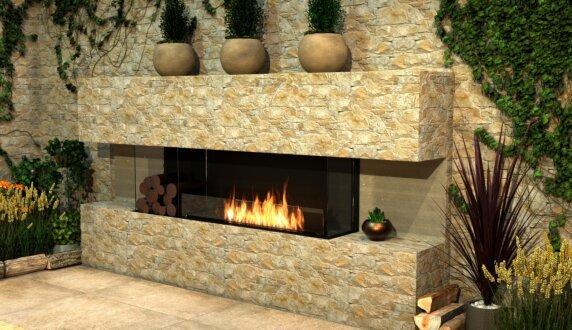 Outdoor Setting - Flex 86BY.BXL Flex Fireplace by EcoSmart Fire