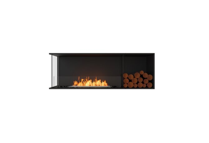Flex 60LC.BXR Left Corner - Ethanol / Black / Installed View by EcoSmart Fire