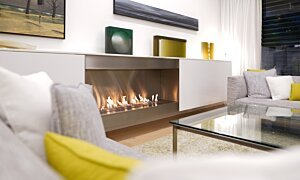 XL1200 Top Tray Black Fireplace Tray - In-Situ Image by EcoSmart Fire