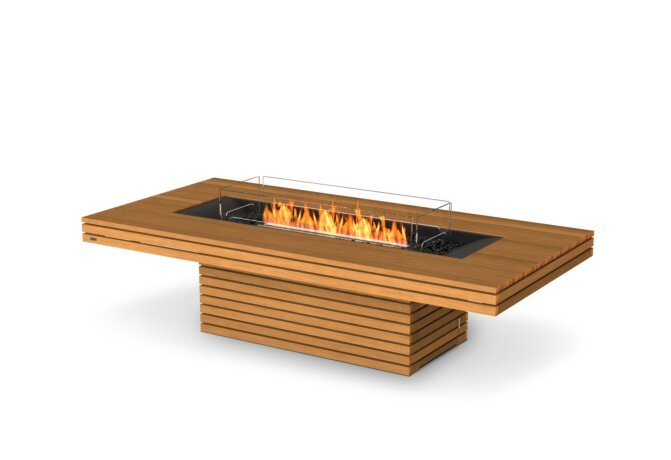 Gin 90 (Chat) Fire Table - Ethanol - Black / Teak / Optional Fire Screen by EcoSmart Fire