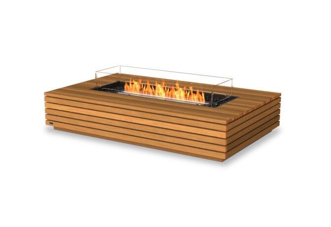 Wharf 65 Fire Table - Ethanol - Black / Teak / Optional Fire Screen by EcoSmart Fire