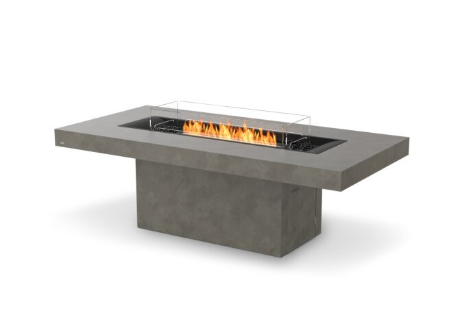 Gin 90 (Dining) Fire Table - Ethanol - Black / Natural / Optional Fire Screen by EcoSmart Fire