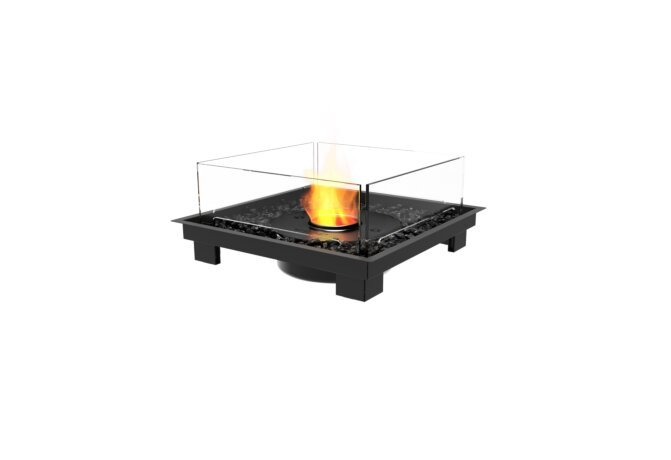 Square 22 Fire Pit Kit - Ethanol - Black / Black by EcoSmart Fire