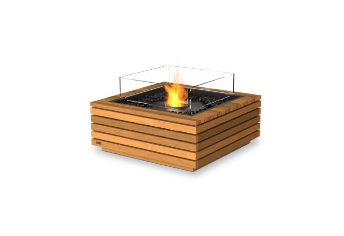 Base 30 Fire Table - Ethanol - Black / Teak / Optional Fire Screen by EcoSmart Fire