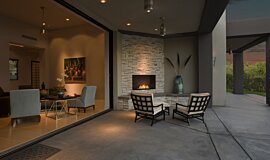 Outdoor Space Traditional Fireplaces Built-In Fire Idea