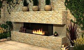Outdoor Setting Linear Fires Flex Sery Idea
