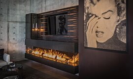 Hillside Residence Builder Fireplaces Built-In Fire Idea