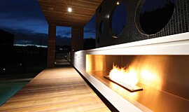 Portsea Private Pool Pavilion Builder Fireplaces Built-In Fire Idea