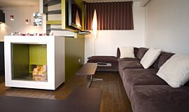 Chalet LaPlagne See-Through Fireplaces Designer Fireplace Idea