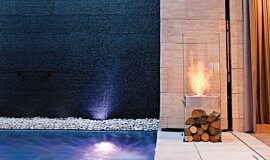 New American Home Landscape Fireplaces Designer Fireplace Idea